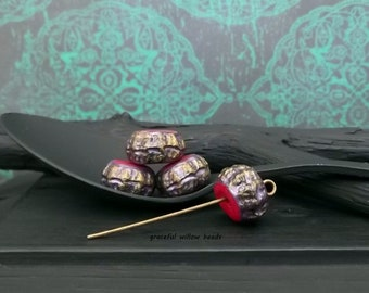 Purple Red Brass Bohemian Polymer Flat Round Rondelle Bead - Handcrafted Bead - 12mm - Pkg. 4