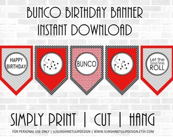 Printable BUNCO Birthday Banner, Printable Girls Night Out Bunco Banner,  Red Black and White Bunco Banner by SUNSHINETULIPDESIGN