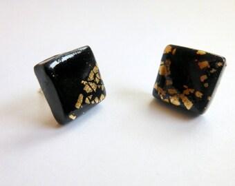 Black Stud Earrings Black Square Stud Earrings Black Post Earrings Black Square Post Earrings Polymer Clay Earrings Hand Made
