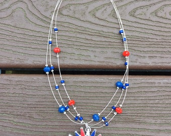 Vintage Jewelry Patriotic Red White & Blue 4th of July Necklace