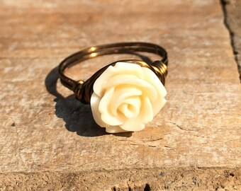 cream off white Flower , antique brass gold wire wrap wrapped ring - size 8 , garden spring summer women girl romantic handmade jewelry