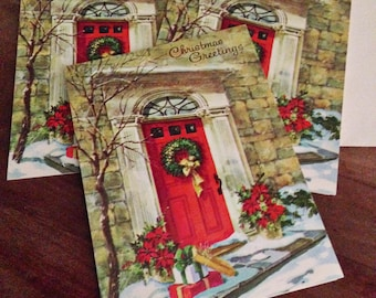 Christmas cards 1950's 3 Unused Greeting card Small Paramount Cards Unsigned Nostalgic Christmas From our House Red Door Christmas Graphics