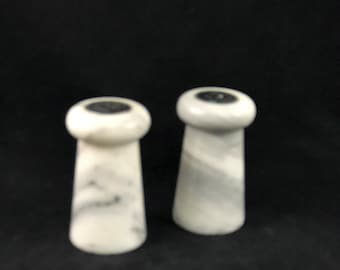 Vintage Gray and White Marble Salt and Pepper Shakers