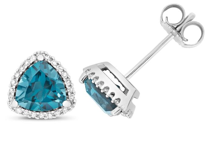 9ct Gold 0.14ct Diamond & Trillion Cut London Blue Topaz 6mm Stud Earrings