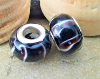 2 beads/Charms Lampwork black white Brown 12 x 8 mm