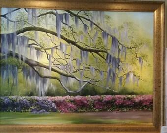 Beautiful framed original oil of live oaks and azaleas!!!