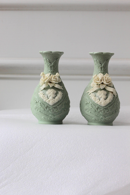 Vintage green cameo bud vase set jasperware wedgwood mint zoom reviewsmspy