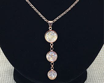 Bridesmaid Necklace - Champagne Druzy Necklace - Bridesmaid Gift - Rose Gold - Jewelry - Champagne Jewelry - Rose Gold Necklace - Bridesmaid