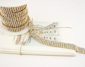 4 rangées strass or garniture, garniture de mariage, cristal Applique, or cristal de garniture, garniture de mariée, Bouquet de garniture, 15mm (Qté 1 Yard)