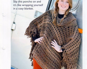 Crochet Pattern pdf - Poncho - Chunky Yarn - Instant Download