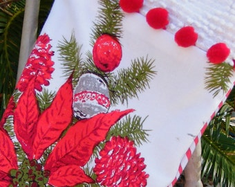 Christmas Stocking Eco Friendly Repurposed Retro Tablecloth and Chenille
