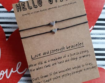 Valentine's couple gift, matching gift, couple bracelets, love bracelets, strength gift, mental health support, relationship strength gift