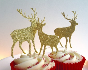Christmas Reindeer Cupcake toppers Glitter Gold