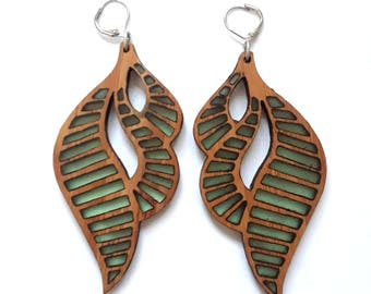 Wood and Resin Earrings : Seaglass, wood, resin, earrings, organic, contemporary