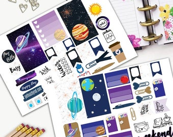 Galaxy Constellation Theme Planner Weekly Sticker SMALL Kit, CLASSIC Happy Planner Sticker, Weekly Set, Stickers, Printed, Cut, Kawaii