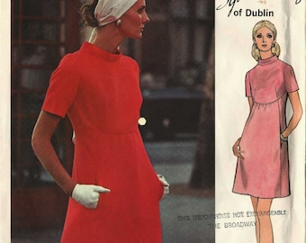Sewing Pattern Vogue 2336 A-line shift dress bias shaped standing collar gathered skirt high waist Size 12 Sybil Connolly Couturier uncut