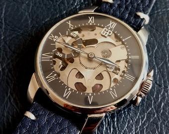 UNIQUE GIRARD PERREGAUX Shell Men's Wrist Watch, Custom Swiss Girard Perregaux Men's Wristwatch, Girard Perregaux Skeleton Marriage Watch