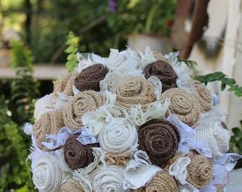 Ready to Ship Burlap Bouquet, Burlap and Lace Bridal Bouquet, Rustic Chic Bridal Wedding Bouquet, Country, Farm Wedding, Keepsake Bouquet