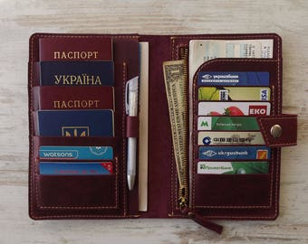 Family passport holder/Leather travel wallet/ 4 passport holder/travel wallet/passport holder/family travel wallet/leather passport holder
