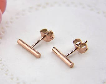 1 Pair/Bulk Stainless Steel Stick Stud Earrings, Rose Gold Plated 10mm Stick Earrings, Ready to Use