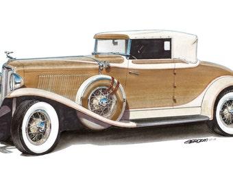 1931 Auburn 12x24 inch Art Print by Jim Gerdom