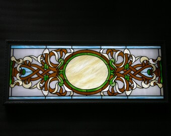 Stained glass panel with backlight to hang on the wall.