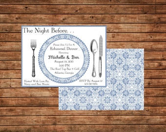Blue Lace Rehearsal Dinner Invitation