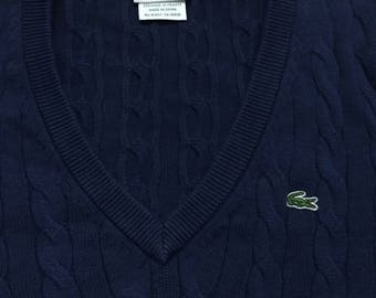 LaCoste V-neck Cabled Sweater