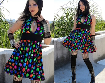 Alien Print Rave Dress, Black and Rainbow Aliens Halter Dress, Festival Dress, Rave Wear
