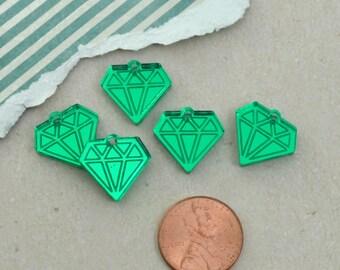 MINI GREEN DIAMONDS -  Mirror Charms - flat back - Laser Cut Acrylic
