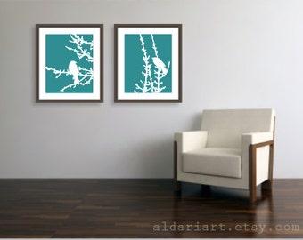 Birds On Branches Set of Two Art Prints - 16x20 - Modern Birds Wall Art - Large Prints - Birds Spring Decor - Teal Blue - Perched Bird Art