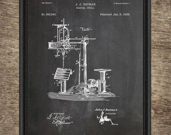 Radial Drill Print, Radial Drill Poster, Tool Print, Garage Decor, Man Cave, Tool Poster, Tool Decor, Garage Art, Set of 4 INSTANT DOWNLOAD