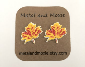 Fall Leaves Stud Earrings, Autumn Leaf, Under 10 Dollars Jewelry Gift