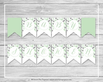 Mint and Silver Baby Shower Banner - Printable Baby Shower Banner - Mint and Silver Baby Shower - Baby Shower Banner - EDITABLE - SP125