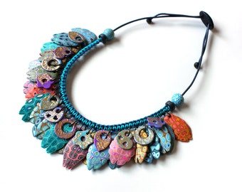 Polymer Clay Necklace, boho necklace, One of a kind jewelry, handmade necklace, cool necklace, contemporary jewelry, statement necklace