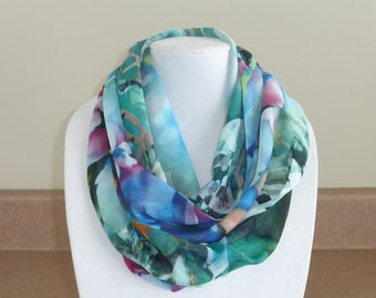 Multicolored floral infinity scarf