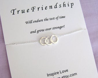 Best Friends Necklace, Sterling Silver Necklace, Best friend necklace, Three BEST FRIENDS, 30th BIRTHDAY for Her