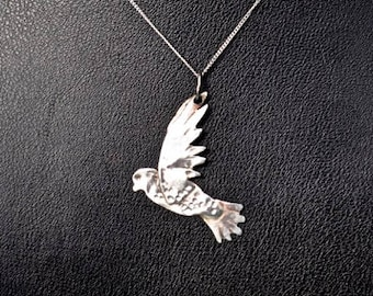 Handcrafted Sterling Silver Flying Bird Pendant
