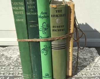 Vintage Decorative Books ~ Green Bundle ~Five Stacked Books ~ 1930 thru 1974 ~Old Books ~Rustic~ Country ~ Wedding Decor ~ Farmhouse