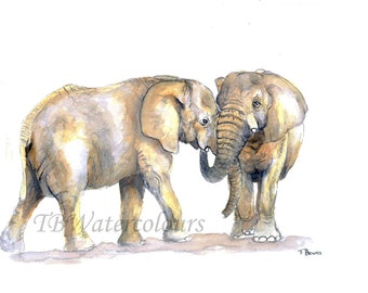 Watercolour elephant print painting