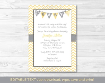 Cute Chevron Baby Shower Invitation / Chevron Pattern / Yellow & Grey / Gender Neutral Baby Shower / INSTANT DOWNLOAD Editable PDF A208