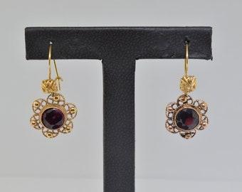 14k Gold And Garnet Earrings