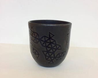 Handmade ceramic Black Geo Shorty cup