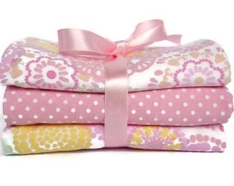Baby Girl Burp Cloth - Pink Burp Cloth - Baby Shower Gifts - Baby Burp Pad - Cottage Chic - Handmade Burp Cloths - Baby Gift Set - Burp Rag