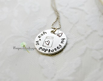 MASON Jar Necklace, Jar of Hearts, Vday Gift, Valentine's Day Gift, Jar Necklace, Hand Stamped Necklace, Gift for Her, Valentine's Day Gift