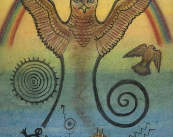 Hawk Spirit  Petroglyph Portrait - Gateway Solar Plexus Chakra -  by Shamanic artist healer Azurae Windwalker