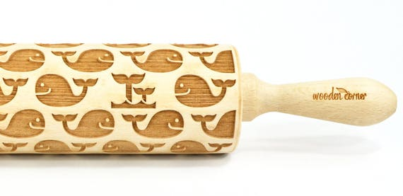 Whales - Big size Rolling Pin, Engraved Rolling Pin, Rolling Pin, Embossed Cookies, Wooden rolling pin, nudelholz