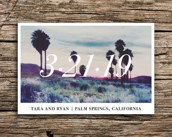 Palm Sunset Save the Date Postcards // Minimalist Desert Palm Springs Wedding California Postcards Vintage Bohemian Modern Minimal Love