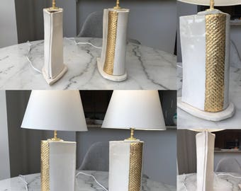 Pair of white and gold leafed handbuilt ceramic lamps