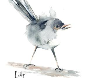 Minimalist grey wren bird Original Watercolor Painting, Bird Art Painting, Minimalist modern painting of bird
